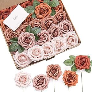 Ling's moment Artificial Flowers Burnt Orange Ombre Colors Foam Rose 5 Tones for DIY Wedding Bouquets Centerpieces Arrangments Decorations(25pcs)