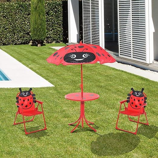 Juego de Mesa de jardín para niños, 2 sillas, Paraguas con Estampado de Mariquita, Plegable, para Patio, Muebles, sombrilla para niños, para Jugar al Aire Libre, Picnic, Camping, portátil: Amazon.es: Jardín