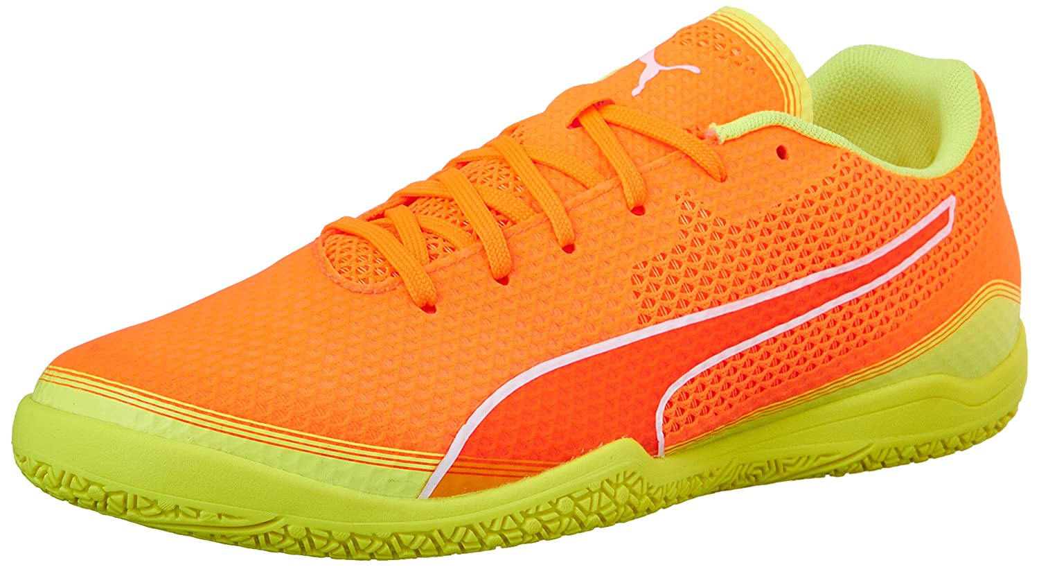 PUMA Men's Invicto Fresh Soccer Schuhe, Shocking Orange Weiß Safety Yellow, 7.5 M US