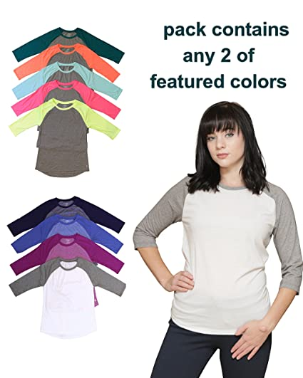 9a7bd59c03a0 Women s Danskin Now Dri-More Knit Two Color Raglan 3 4 Sleeve Shirts  (2-Pack) at Amazon Women s Clothing store