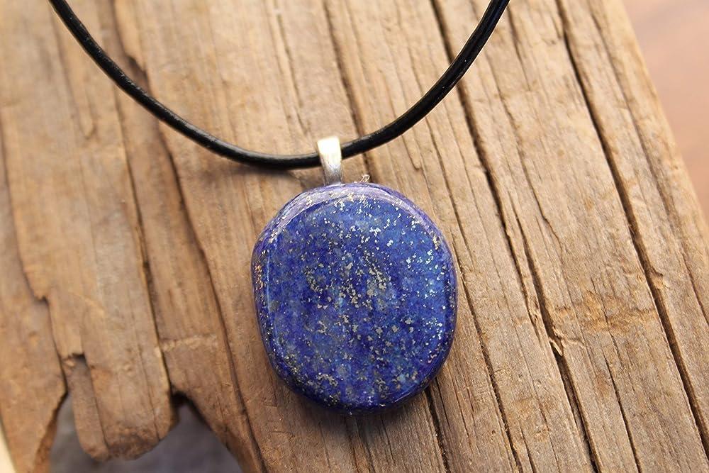 Amazon bib necklace Lapis Lazuli leather and silk
