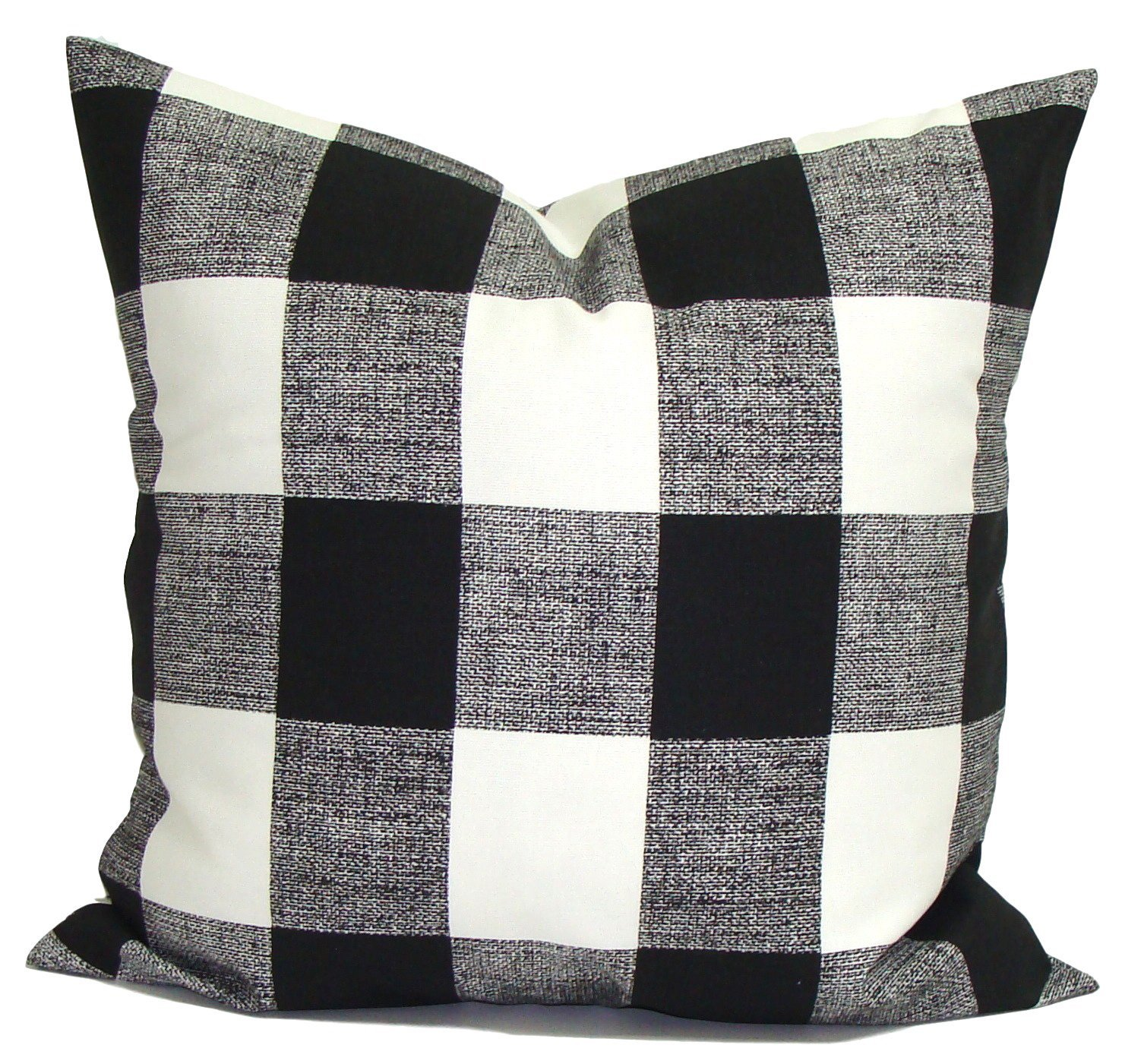 Black OUTDOOR Throw Pillow Cover, Black Plaid Pillow. Check Christmas Throw Pillow Cover, Decorative Pillow Cover, Buffalo Check Throw Pillow, Plaid Pillow, Any Size,Farmhouse Pillow Cover.OUTDOOR