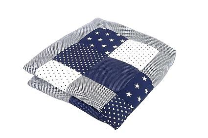Alfombra para gatear de ULLENBOOM ® con estrellas azules (manta para bebé de 100 x 100 cm; ideal como colcha para el cochecito; apta como alfombra de ...