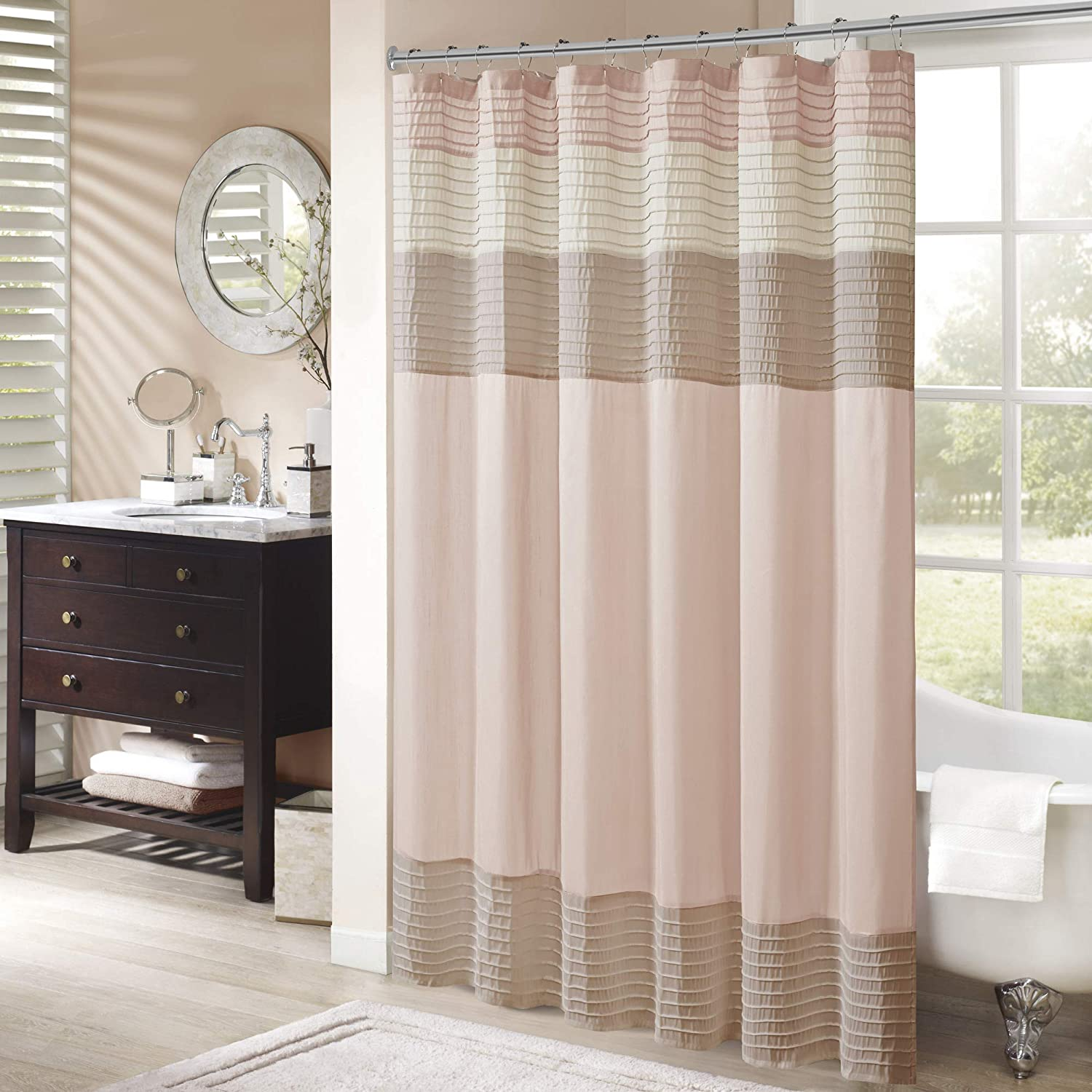 "Madison Park Amherst Fabric Shower Curtain Faux Silk Pieced Striped Machine Washable Modern Home Bathroom Decor, Bathtub Privacy Screen, 72"" x 72"", Blush"