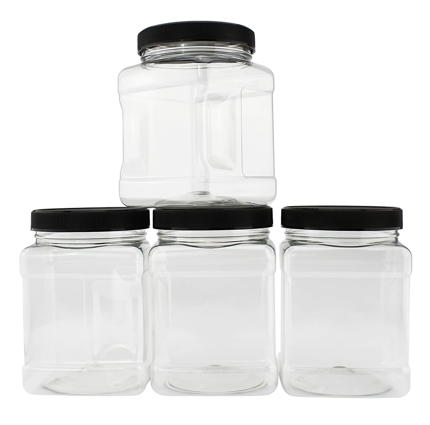 32-Ounce Square Plastic Jars (4-Pack); Clear Rectangular 4-Cup Canisters w/Black Lids, Easy-Grip Side