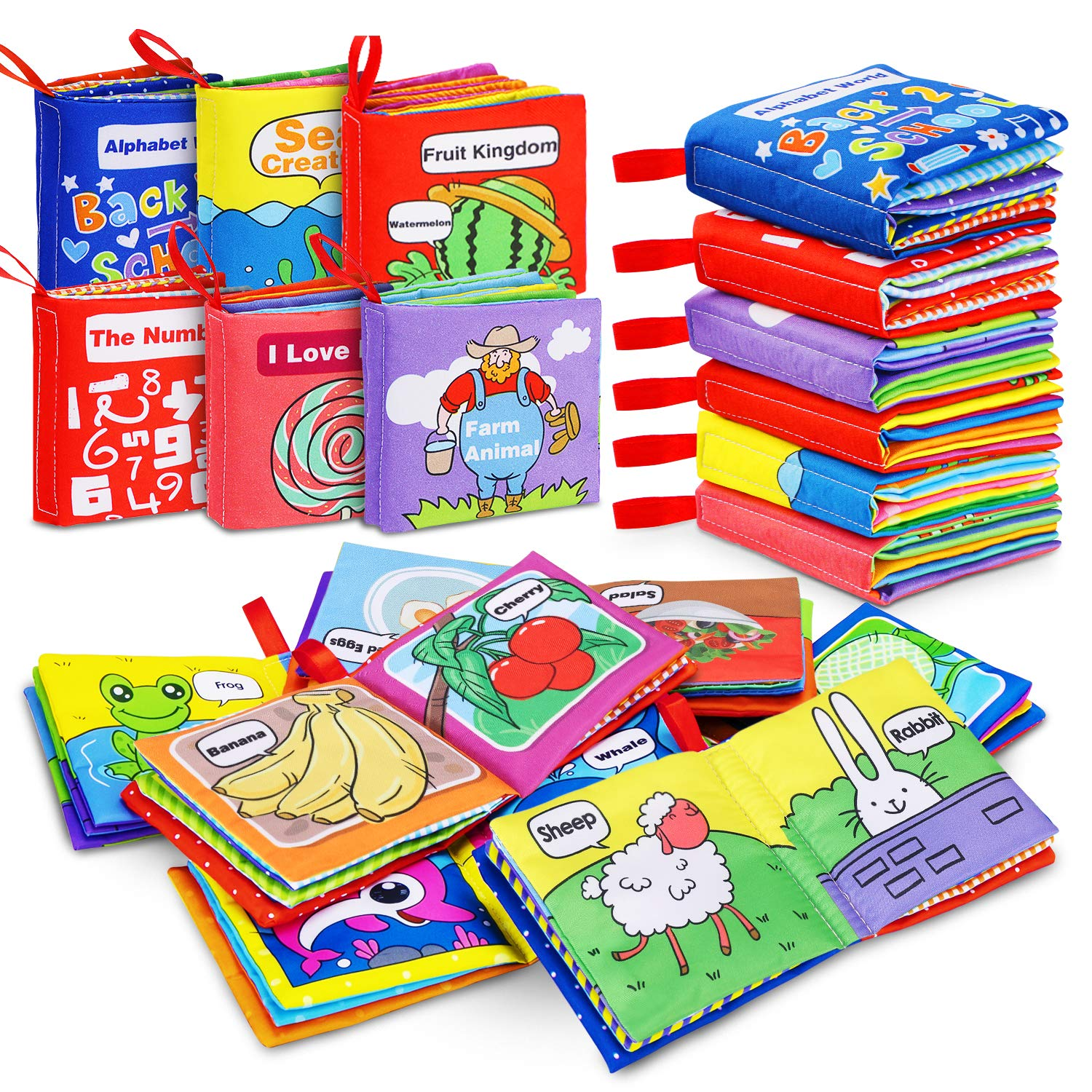 Magicfun Cloth Book Baby, Baby Books Baby's First Soft Cloth Book Set Infant Children Educational Toys Baby Gifts for Boy Girl 6-Pack Perfect Size for Little Hands (Friction with a rustling Sound)