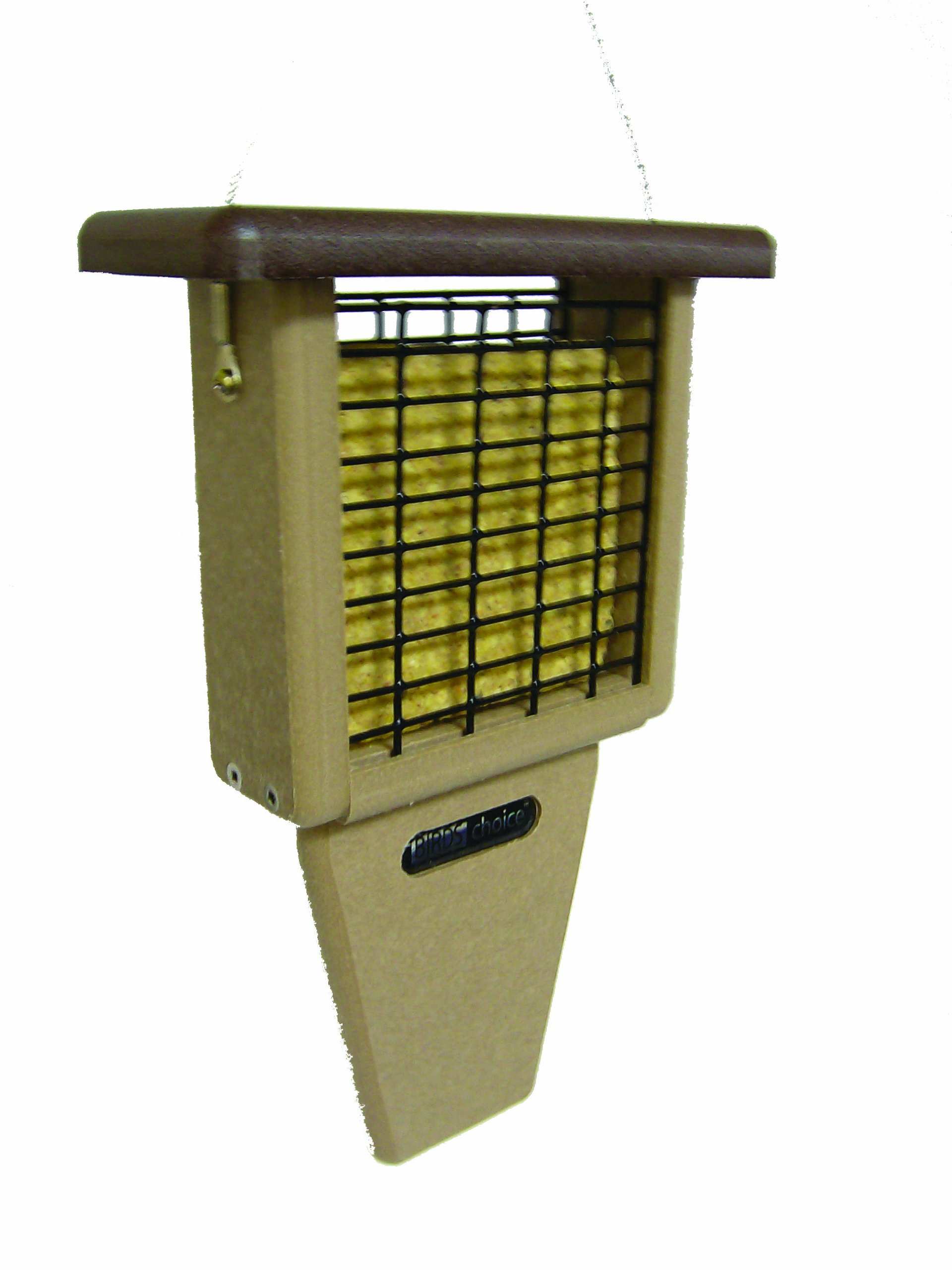Birds Choice Single-Cake Tail-Prop Suet Feeder with Brown Top by Birds Choice