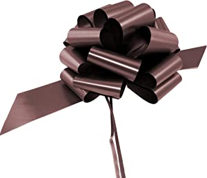 """Large Chocolate Brown Pull Bows - 9"""" Wide, Set of 6, Fall Decor, Wreath Decoration Ribbons, Thanksgiving, Autumn, Christmas Presents, Gift Basket, Halloween, Fundraiser, Decoration, Classroom, Office"""