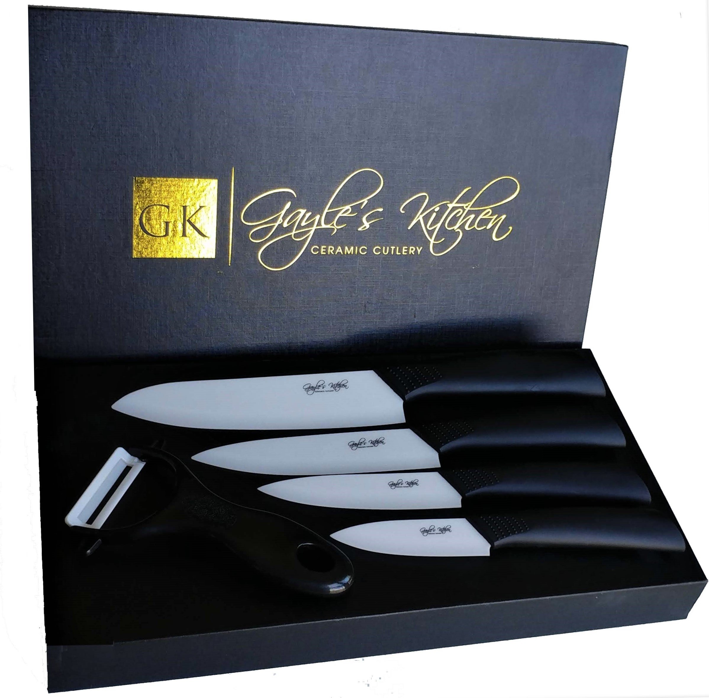 "Ceramic Knife Set - 5 Pieces - Chefs Knife Set - Includes 3"", 4"", 5'', 6"" Ceramic Knives and a Matching Veggie Peeler - Elegant Magnetic Closing Box - Ceramic Kitchen Knives Box Set by Gayle's Kitchen"