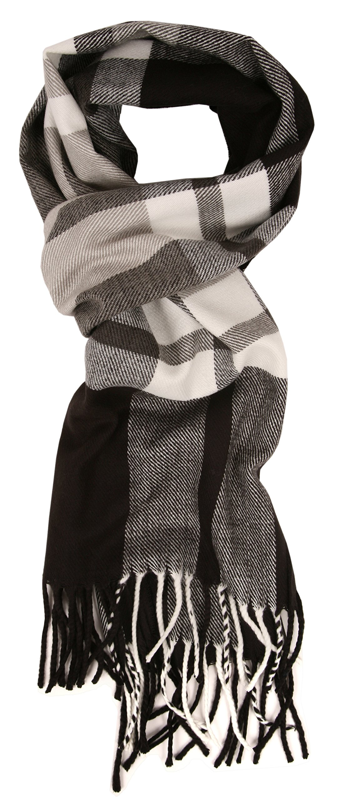 Love Lakeside-Men's Cashmere Feel Winter Plaid Scarf (One, 26-2 Black & White)