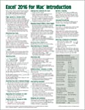 Excel 2016 for Mac Introduction Quick Reference Guide (Cheat Sheet of Instructions, Tips & Shortcuts - Laminated Cards)