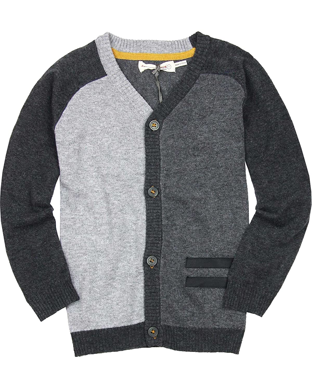 Deux par Deux Boys' Gray Knit Cardigan Maestro!, Sizes 18M-12
