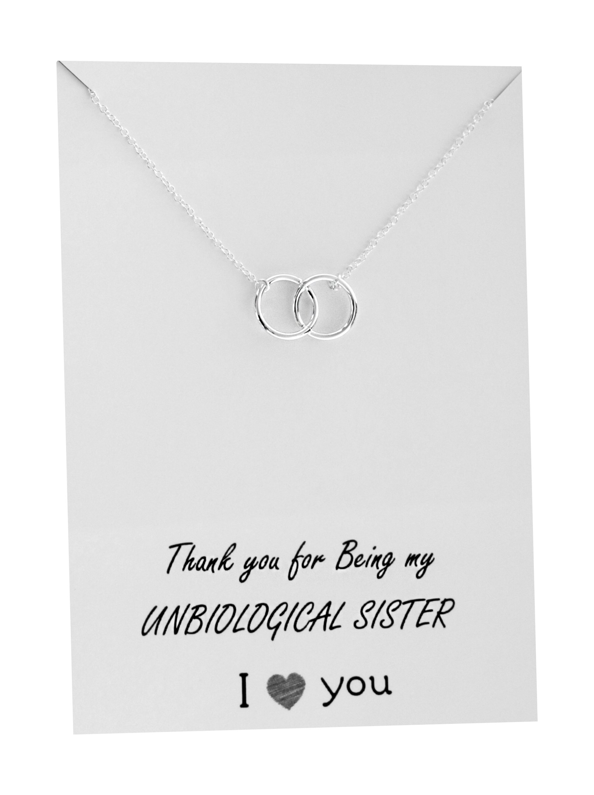 Friendship Necklace Sister Double Interlocking Circles Pendant Gift card Family Friends Jewelry Love for Her Silver toned (Thank you for being my unbiological sister necklace)