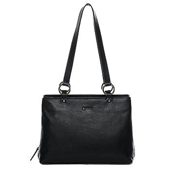 3d6d5be501906 BACCINI Handtasche mit Langen Henkeln Leder NOELA groß Henkeltasche Damen  Schultertasche echte Ledertasche Damentasche schwarz