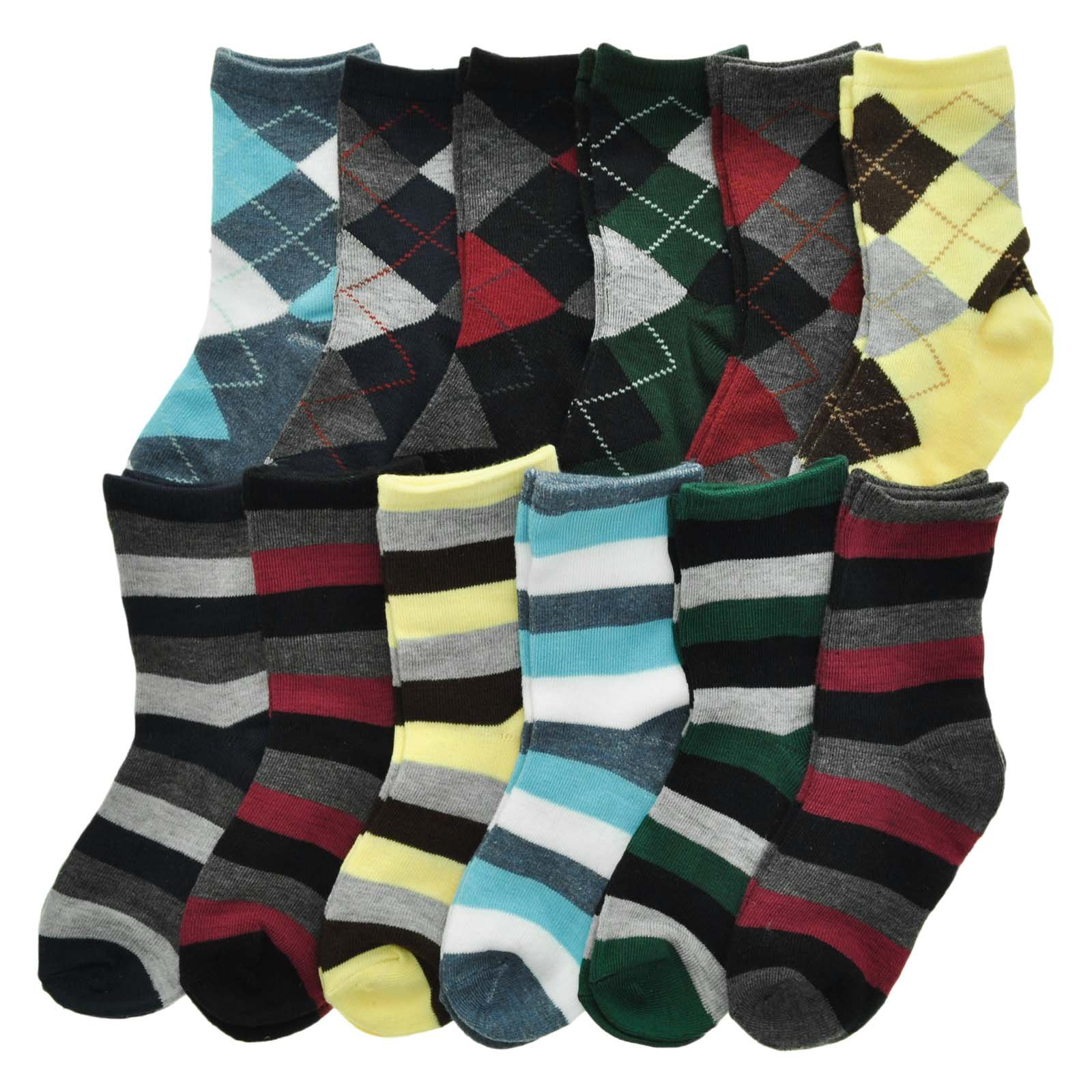 Swan Boys Kid's Novelty Crew Socks (12-Pairs), 357_B_STRIPE_M