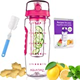 AQUATIME Time Marked Fruit Infuser Water Bottle Large 32 oz – Free Brush for Easy Clean – Convenient to Carry - Leak Proof -
