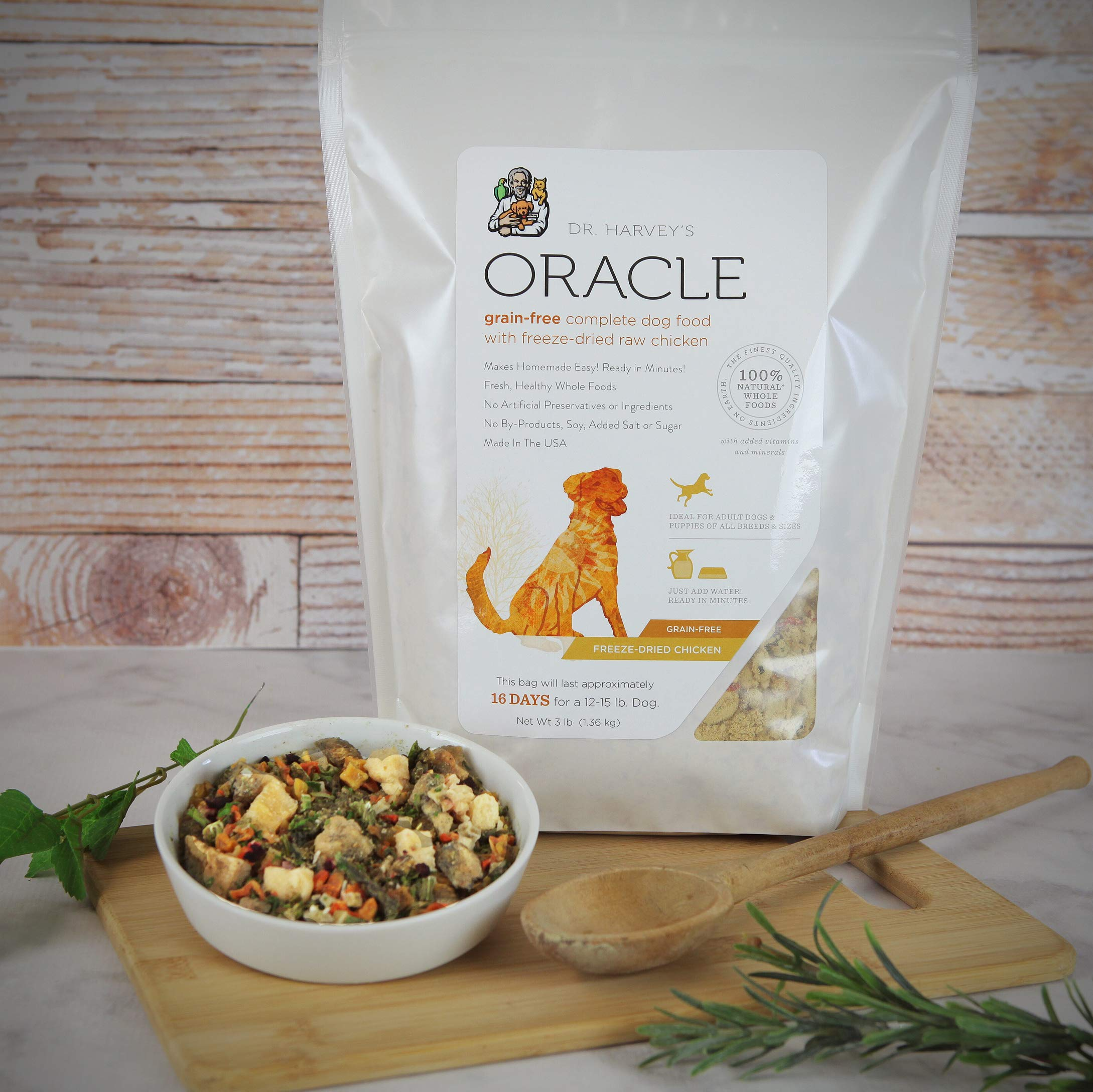 Dr. Harvey's Oracle Grain Free Complete Dog Food with Freeze Dried Raw Chicken for Dogs, 100% Natural Whole Foods (3 Pounds) by Dr. Harvey's