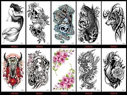 Aspecto Real Temporal Tatuajes 10pcs Halloween En Un Paquetes Lobo
