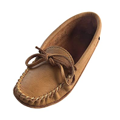 Laurentian Chief Womens Soft Sole Cork Tan Moosehide Leather Moccasins ...