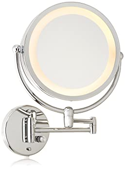 Danielle Revolving Wall-Mounted Day/Night Lighted Mirror, 10X Magnification, Chrome