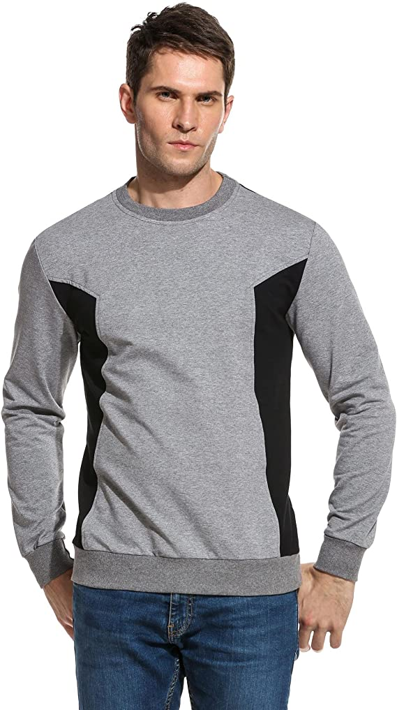 COOFANDY Mens Patchwork Crewneck Casual Slim Fit Long Sleeve Pullover T-Shirt