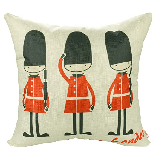 Luxbon Funda Cojines 45x45 Sofá London Soldados Cartoon Lino ...