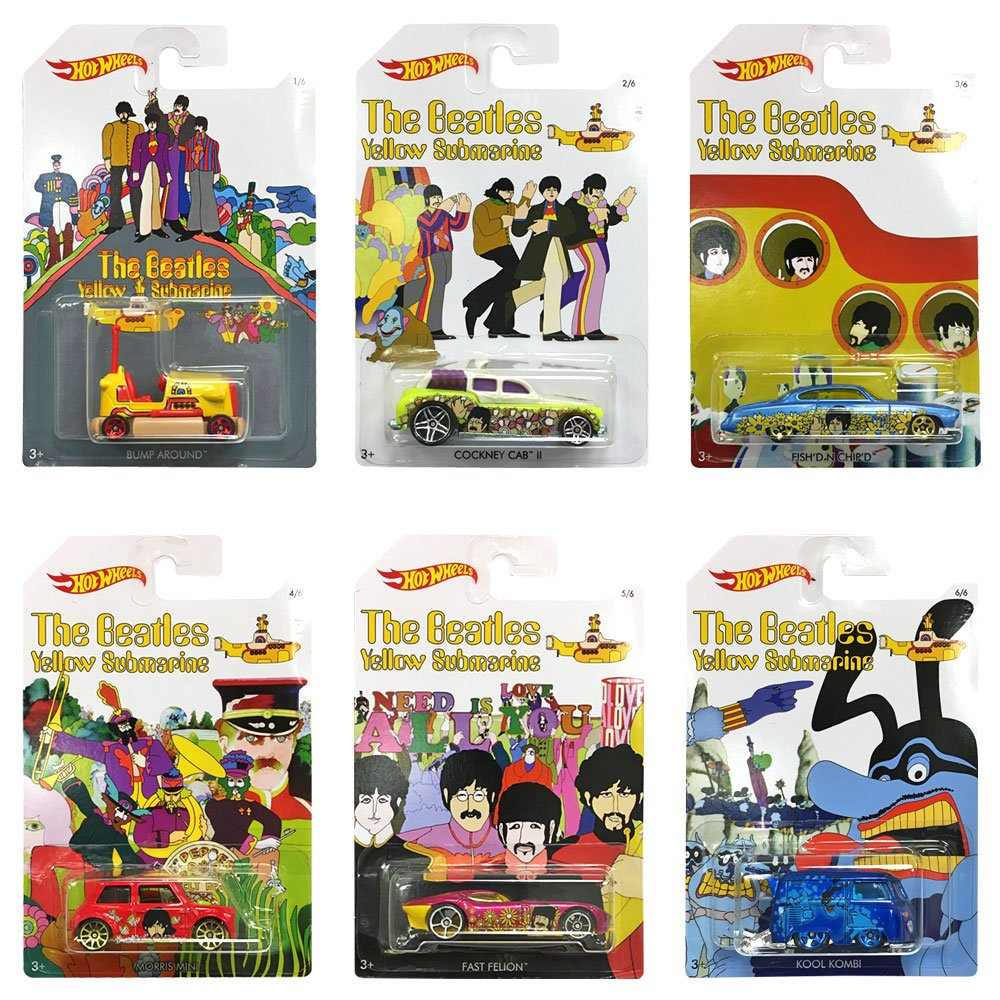 2016 Set of 6 Hot Wheels Cars: THE BEATLES 50th Anniversary YELLOW SUBMARINE 1:64 Scale Collectible Die Cast Metal Toy California