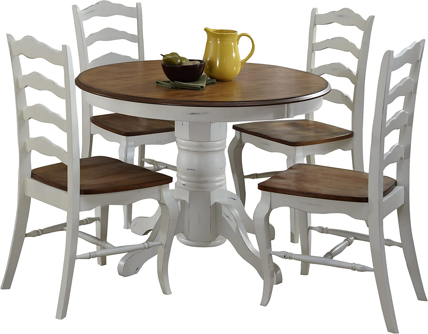 Amazon Com French Countryside Oak White 42 Round Pedestal Dining Table With 4 Chairs By Home Styles Tables