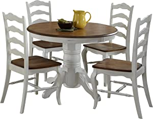 """French Countryside Oak/White 42"""" Round Pedestal Dining Table with 4 Chairs by Home Styles"""