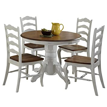 Stupendous French Countryside Oak White 42 Round Pedestal Dining Table With 4 Chairs By Home Styles Download Free Architecture Designs Ponolprimenicaraguapropertycom