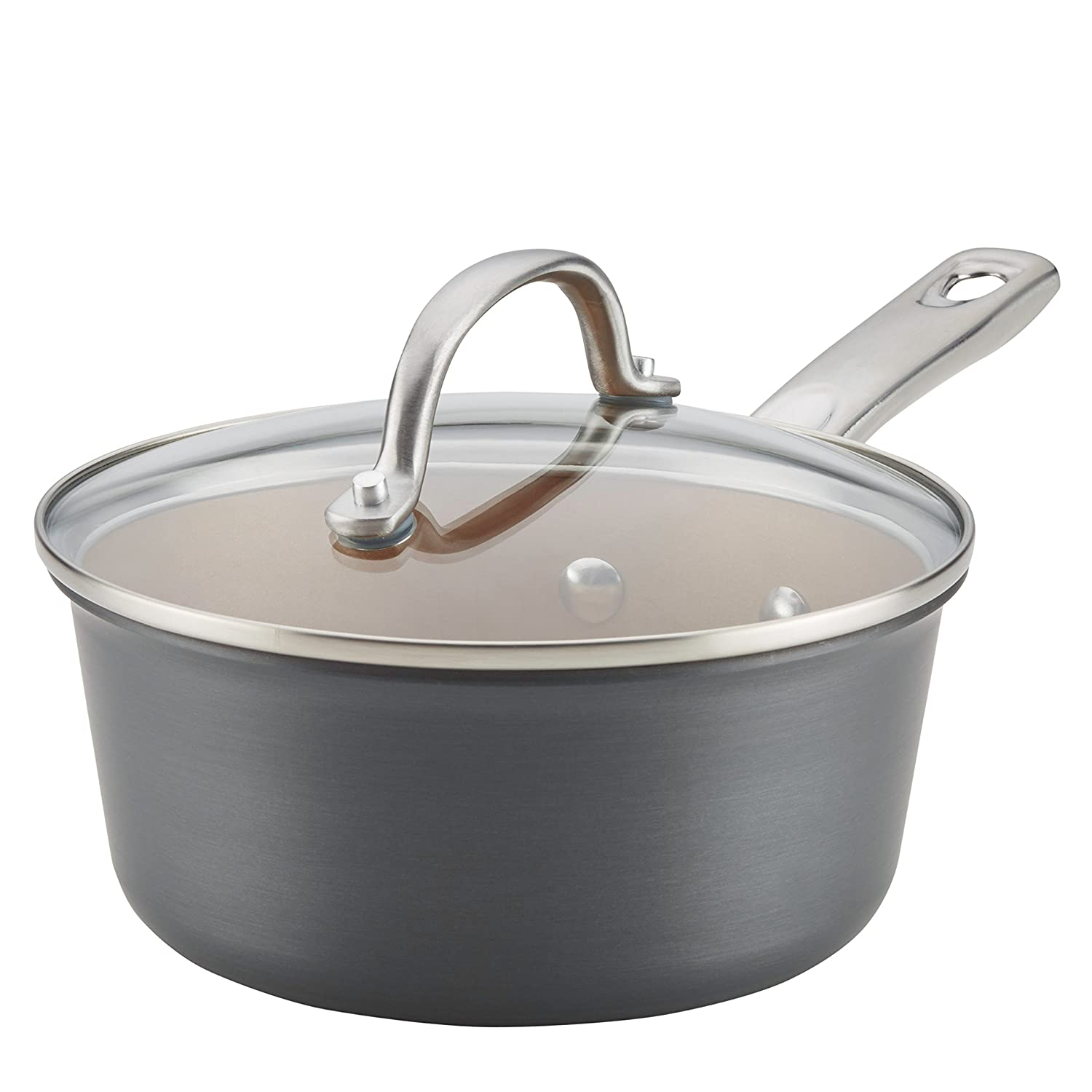 Ayesha Home Collection Hard-Anodized Nonstick Covered Saucepan, 2-Quart, Gray