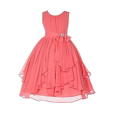 57057641323 ekidsbridal Elegant Yoryu Chiffon Ruched Bodice Rhinestone Flower Girl Dress  Wedding 162s 2