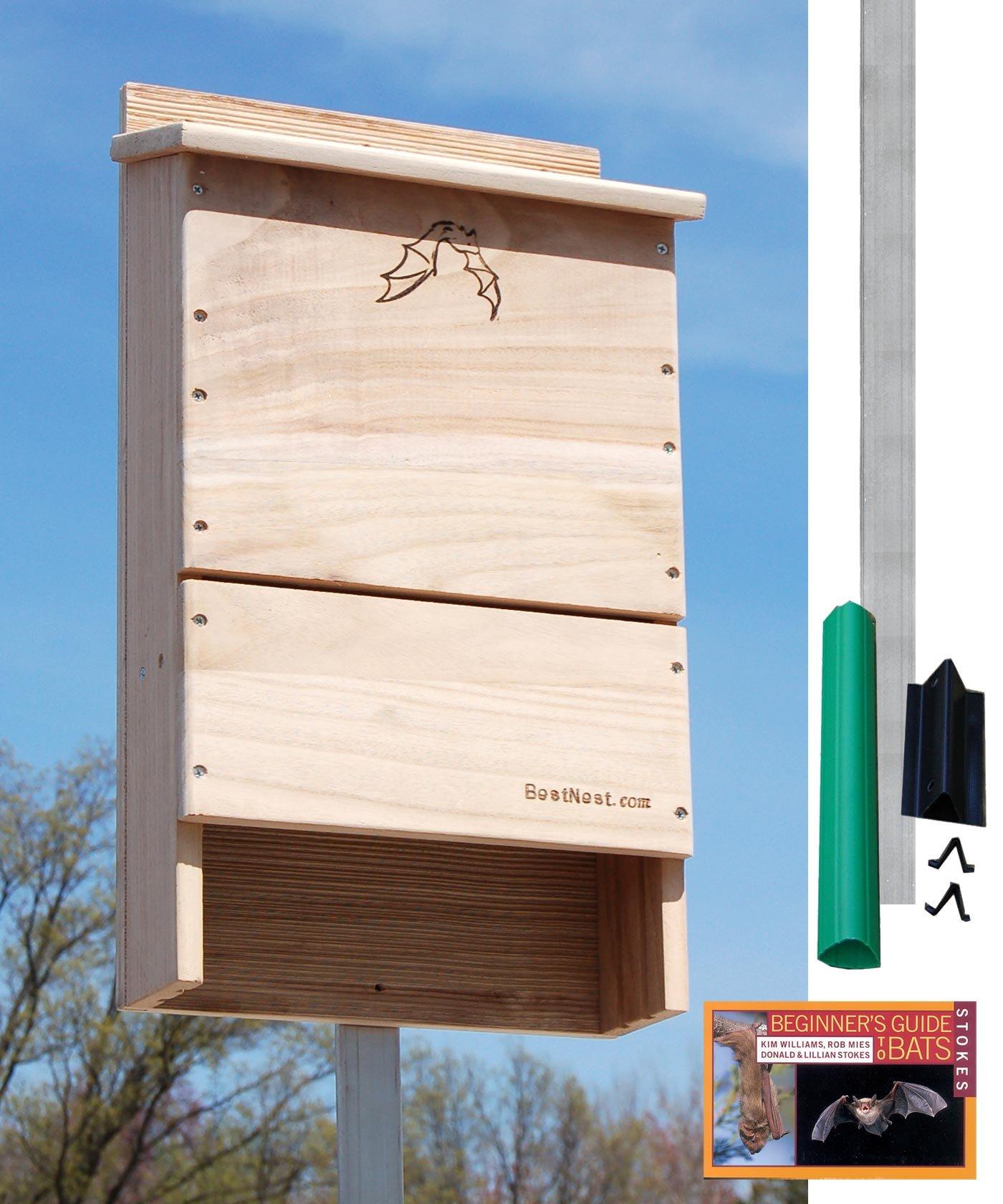 BestNest Triple-Celled Bat House Kit with Pole, 250 bats