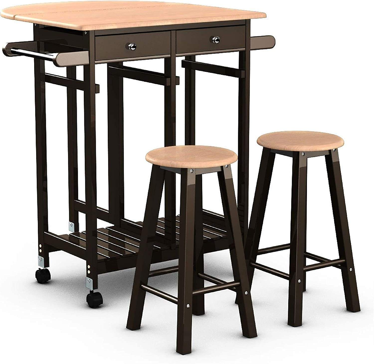 Amazon Com Kitchen Cart Mobile Kitchen Island Cart Breakfast Table With 2 Stools Kitchen Dining
