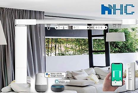 4 Meter Smart WIFI automatizado pistas de cortina eléctrica y motor de carril. Inteligentemente motorizado para cortinas. Aplicación / Voz / Control remoto. Trabaja con Alexa, Google Home: Amazon.es: Hogar