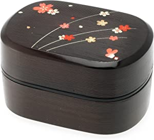 Kotobuki 2-Tiered Bento Box, Brown/Red Cherry (Sakura) Blossom