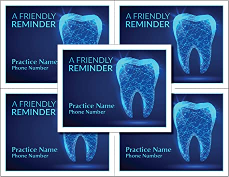 1000 Dental Laser Appointment Reminder Postcards with Personalizable Backs 4 Cards Micro Perforated for Tear-Off at 4.25 x 5.5 on an 8.5 x 11 Sheet of 8 Pt Card Stock.