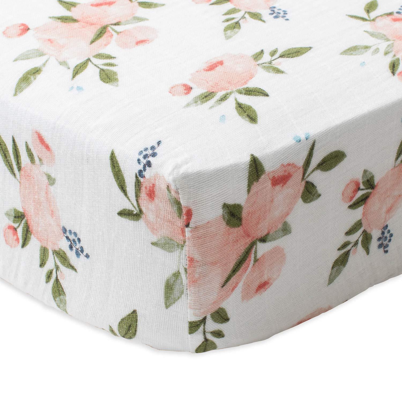 Little Unicorn Cotton Muslin Crib Sheet - Watercolor Roses by Little Unicorn