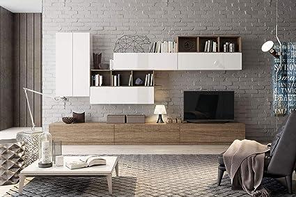 Composition Meuble Tv Max002 Blanc Laque Et Orme Sombre