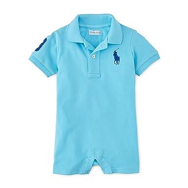 052ce38b8 Amazon.com: RALPH LAUREN Polo Baby Boys' Big Pony Cotton Mesh Shortall  Romper: Clothing