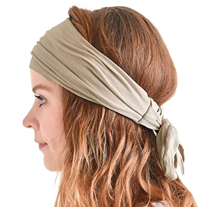 CHARM Men Hippie Japanese Headband - Women Hair Band Boho Bohemian Head  Wrap Pirate Bandana Beige 72f7d2dd5ba