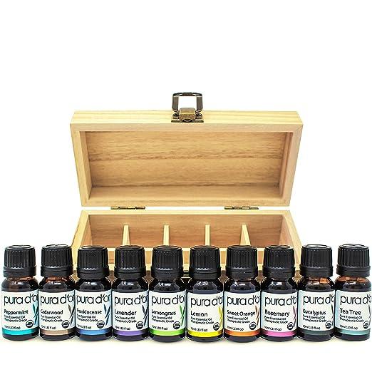 PURA D'OR Essential Oils Wood Box 10mL 10-Set 100% Pure USDA Organic Therapeutic Grade (Tea Tree, Lemon, Lavender, Sweet Orange, Rosemary, Lemongrass, Frankincense, Peppermint, Eucalyptus, Cedarwood) best essential oil kits