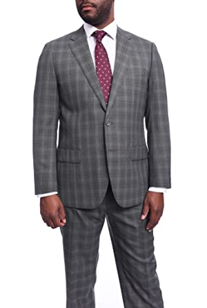 2b11f84c86df3 Napoli Slim Fit Gray Check Half Canvassed Marzotto Wool Suit Slanted ...