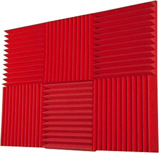 """product image for Foamily 6 Pack - All Red Acoustic Panels Studio Foam Wedges 2"""" X 12"""" X 12"""""""