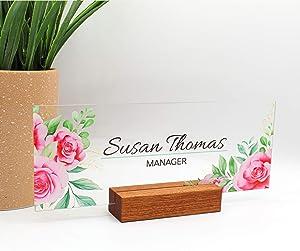 "Art's Desk NamePlate Office Supply Personalized Women Sign Gift Custom School Sign 3D Effect Cherry Blossom Flowers Wood Base Decor (8""x3"")"