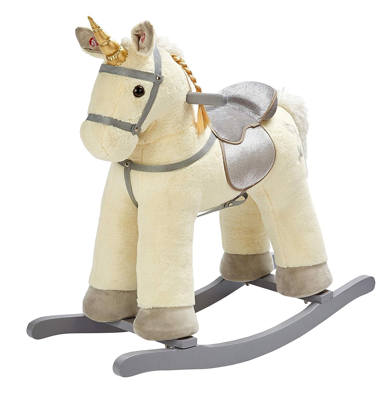 Amazon Com Rock My Baby Beige Rocking Unicorn Rocking Horse Plush