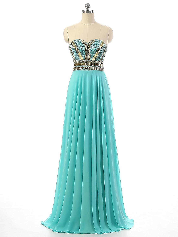 Amazon.com: Changjie Women\'s Sweetheart Beaded Chiffon Prom Dresses ...