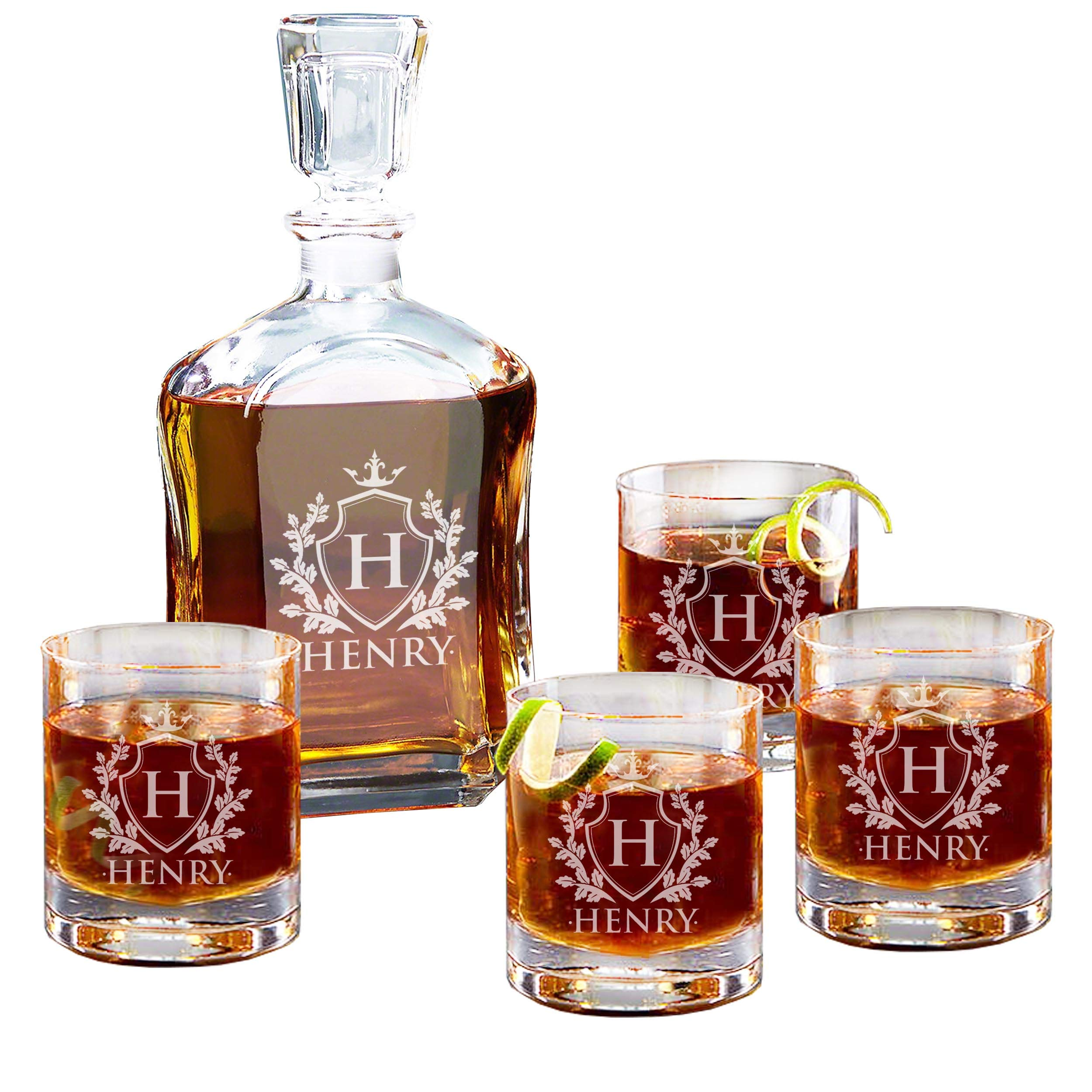 Personalized Custom Engraved Whiskey Decanter Set - Decanter and 4 Glasses Gifts Set - Custom Engraved Monogrammed with Shield Desgin by My Personal Memories