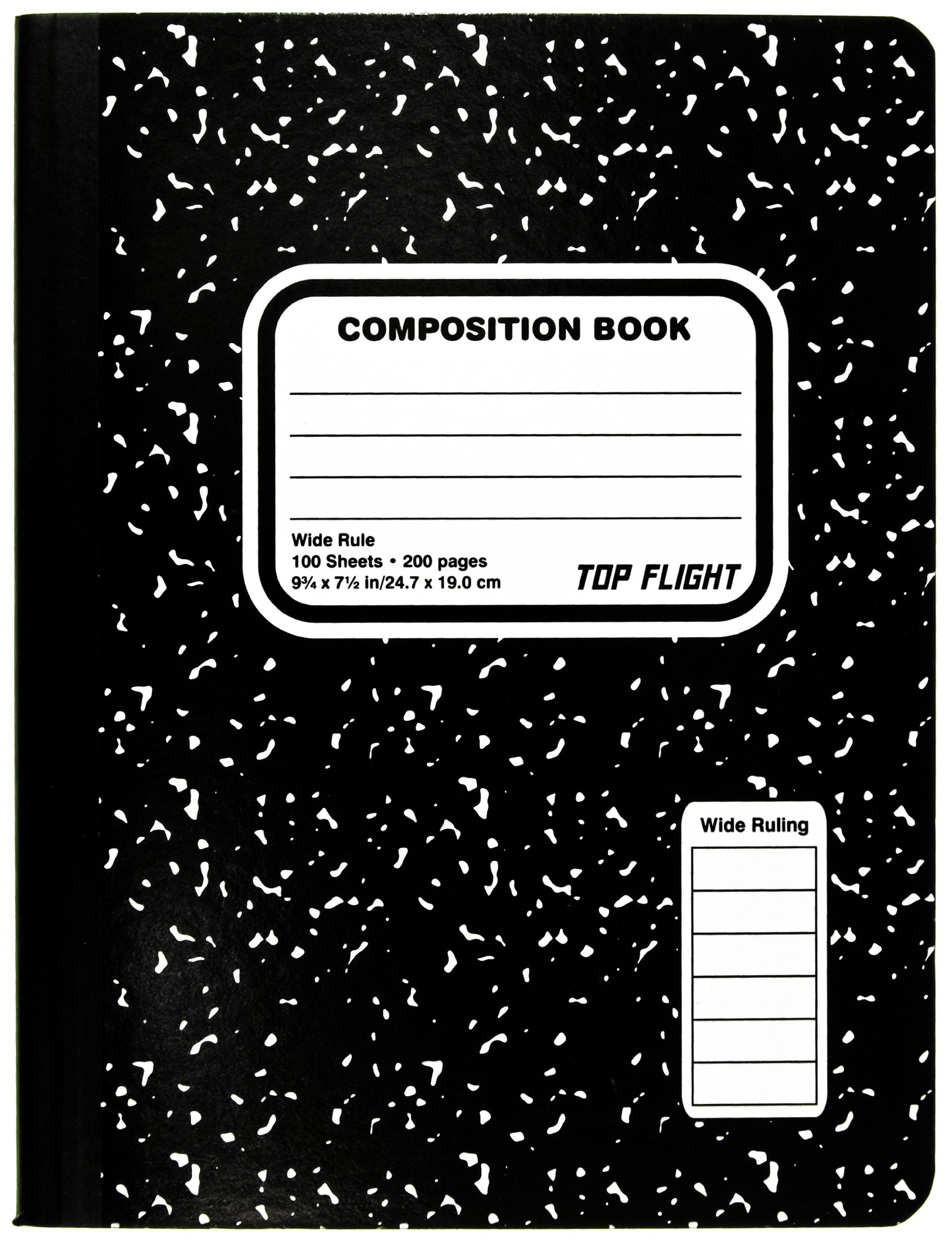 Top Flight Sewn Composition Book, Black and White Marble, Wide Rule, 100 Sheets (41353)