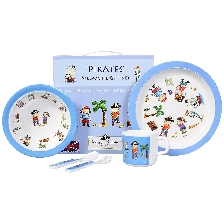 Martin Gulliver Designs Pirates 5 Piece Melamine Gift Set, Multicoloured, 23 x 23 x 7 cm PIR05